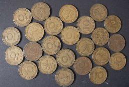 BRD 1949/69, Lot 10 Pfennig - Münzen: 1949 E+F, Bank deutscher Länder, 1950 D, F, G, J, 1966 G+J,