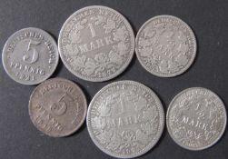 Deutsches Kaiserreich 1875/77 A, 2 x 1.- Mark - Silbermünzen, 1906 A + D, 2 x 1/2 Mark -