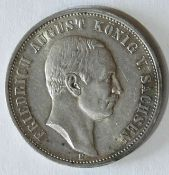 """Deutsches Kaiserreich 1911 Sachsen, 3.- Mark - Silbermünze, """"Friedrich August König von Sachsen""""."""