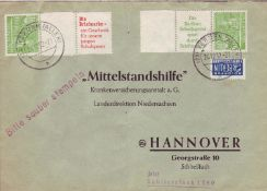 Berlin 1952, Mi. - Nr. W 23 auf Brief. Aus Markenheftchen.Berlin 1952, Michel - No. W 23 on cover.