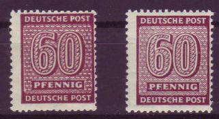 SBZ West - Sachsen 1945, Mi. - Nr. 137 yw a+b. 137 yw b geprüft Jasch. **.SBZ West - Saxony 1945,