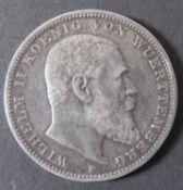 """Deutsches Kaiserreich Württemberg 1908, 3.- Mark - Silbermünze """"Wilhelm II - Koenig von"""