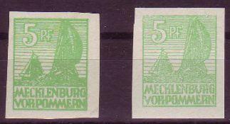 SBZ Mecklenburg - Vorpommern 1946, Mi. - Nr. 32xa+b. 32xb geprüft Kramp. ** .SBZ Mecklenburg -