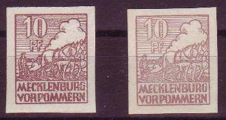 SBZ Mecklenburg - Vorpommern 1946, Mi. - Nr. 35x a+b. 36x b geprüft Zierer. ** .SBZ Mecklenburg -