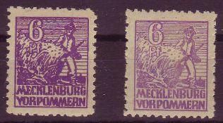 SBZ Mecklenburg - Vorpommern 1946, Mi. - Nr. 36y d+e. 36y e geprüft Thom. ** .SBZ Mecklenburg -