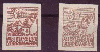 SBZ Mecklenburg - Vorpommern 1946, Mi. - Nr. 29x a+b. 29x b geprüft Kramp. ** .SBZ Mecklenburg -