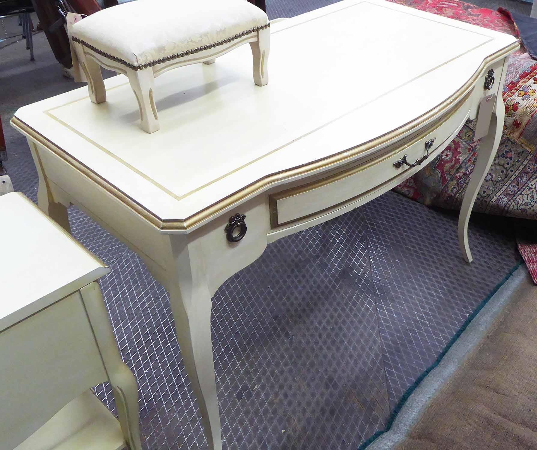 Lot 39 - DRESSING TABLE, cream painted, 106cm W x 92cm D x 86cm H; plus a bedside table,