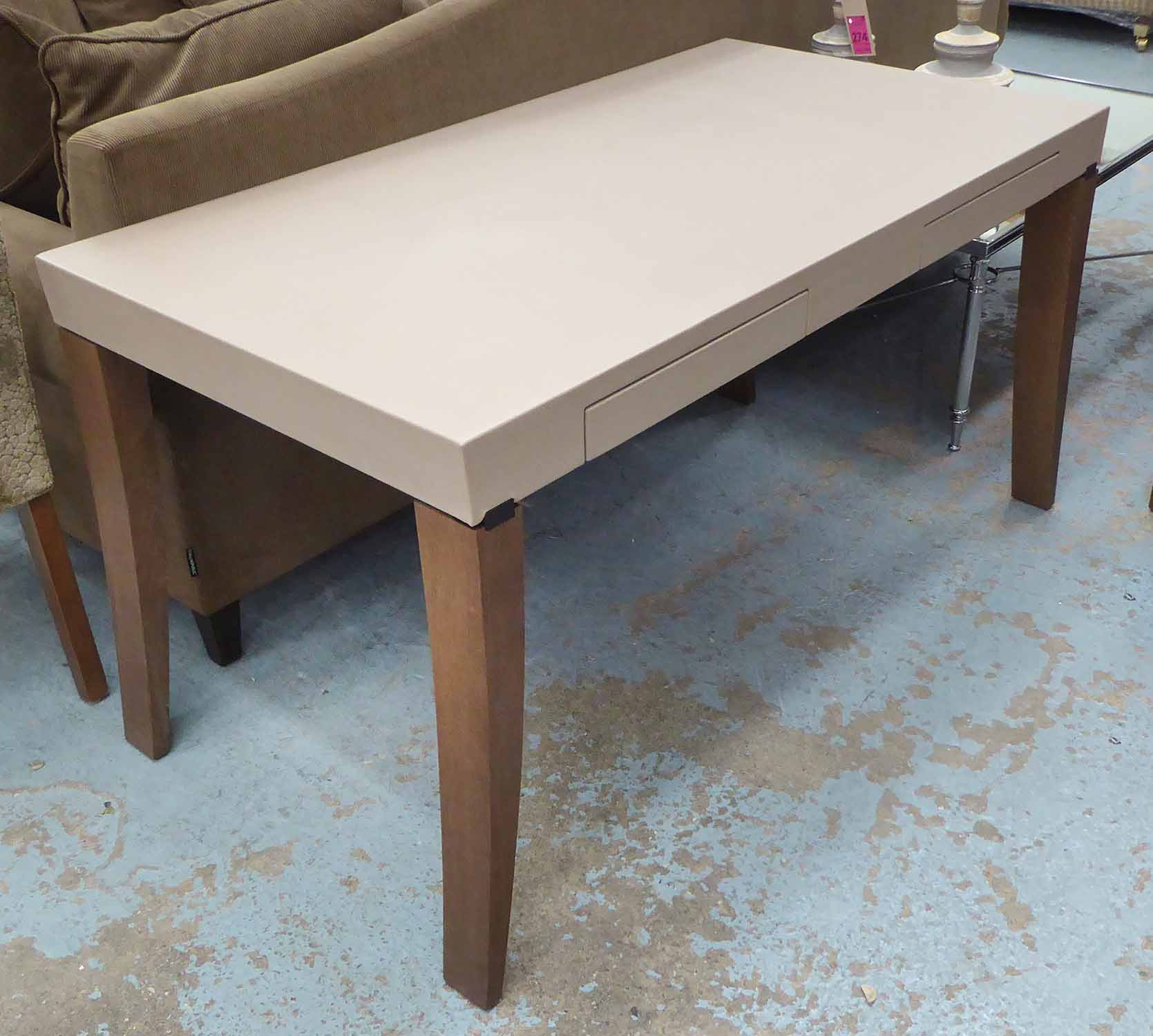Lot 3 - WRITING TABLE, contemporary, with two drawers, 75cm H.