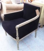 Lot 46 - ARMCHAIR, French Empire style with beaded and carved silver gilt showframe, in black upholstery,