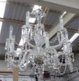 Lot 56 - CHANDELIER, ten branch, with crystal drops on swept twisted glass arms, 86cm H plus chain.