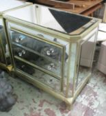 Lot 25 - CHEST OF DRAWERS, French 1950s inspired mirrored finish, 92cm x 51cm x 82cm H.