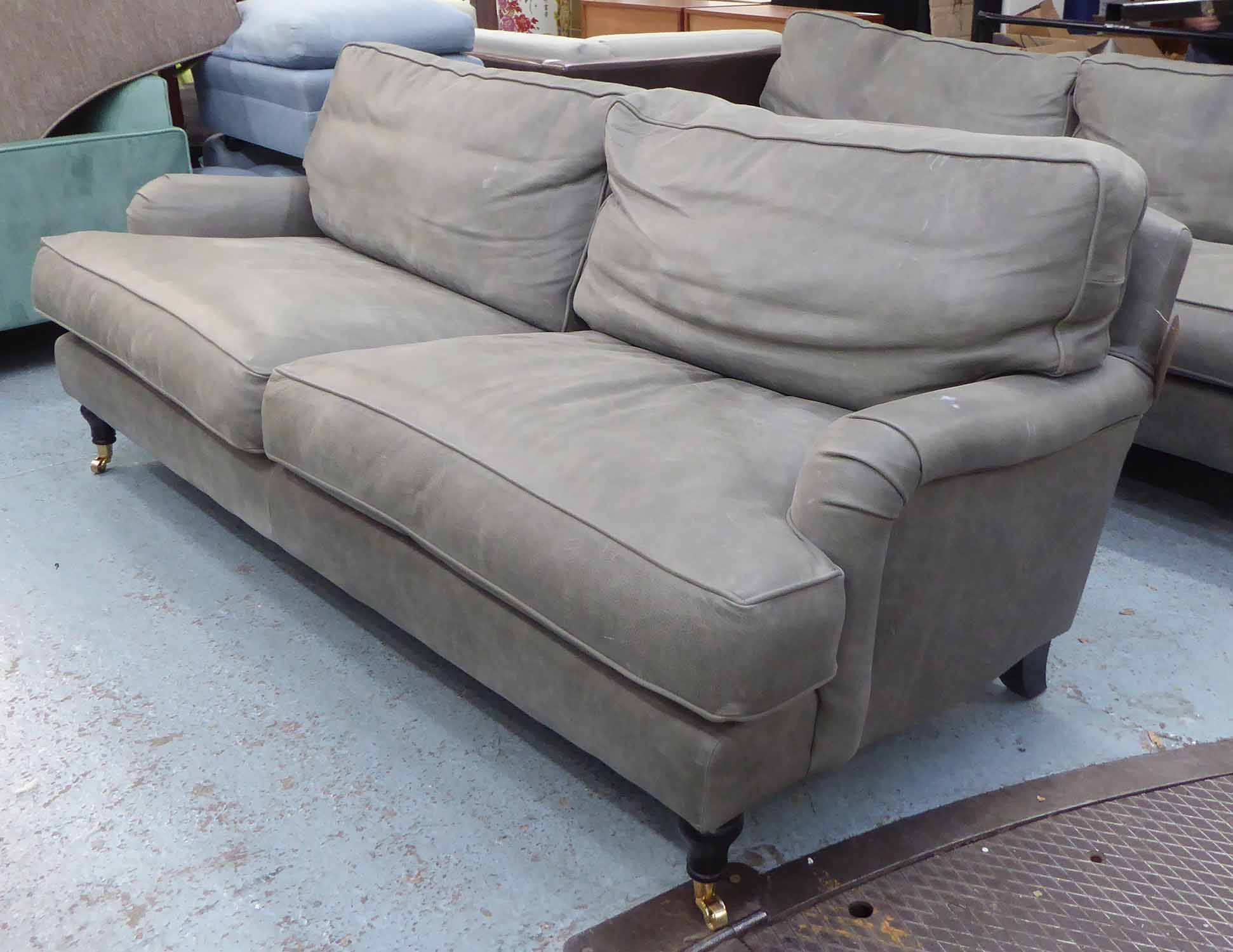 Lot 18 - HOWARD STYLE SOFA, grey leather finish, 212cm W approx.