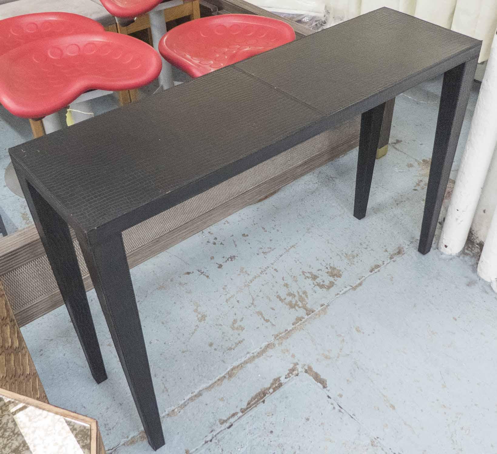Lot 51 - CONSOLE TABLE, in faux crocodile skin patterned black leather, 120cm L x 36cm W x 81cm H.