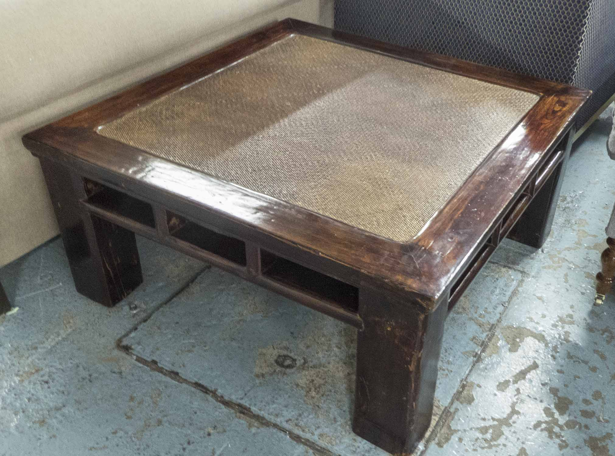 Lot 34 - COFFEE TABLE, square, asian hardwood, woven top, 100cm W x 100cm D x 47cm H.