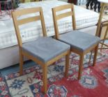 Lot 59 - DE LE ESPADA DINING CHAIRS, a set of six, with faux grey suede seats, on square supports, 45cm W.