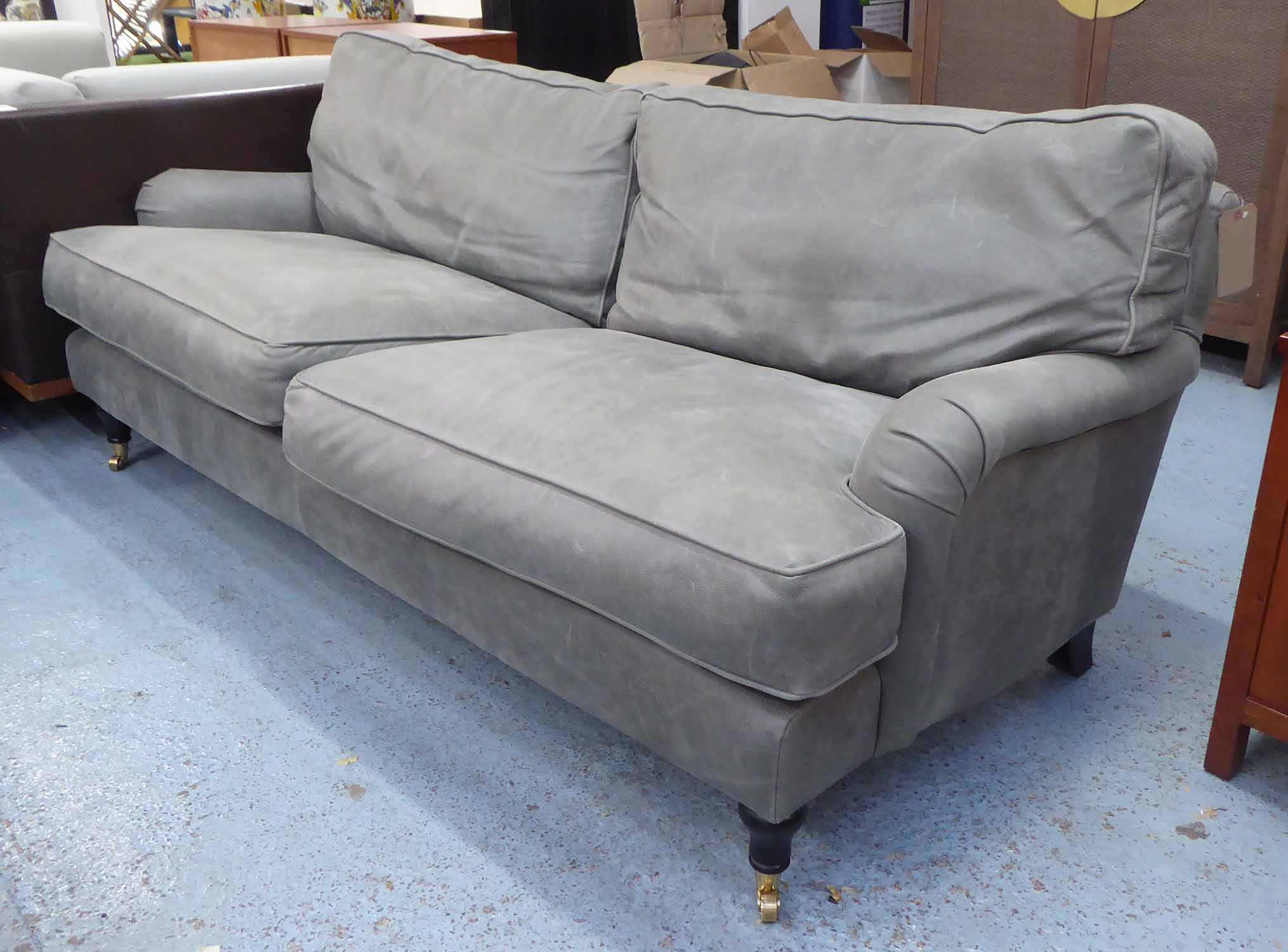 Lot 17 - HOWARD STYLE SOFA, grey leather finish, 212cm W approx.