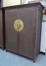 Lot 4 - MEDIA CABINET, in the oriental style, with fold away door mechanism, 136cm W x 68cm D x 170cm H.