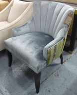Lot 61 - ARMCHAIR, in blue faux velvet on ebonised square supports, 70cm W.
