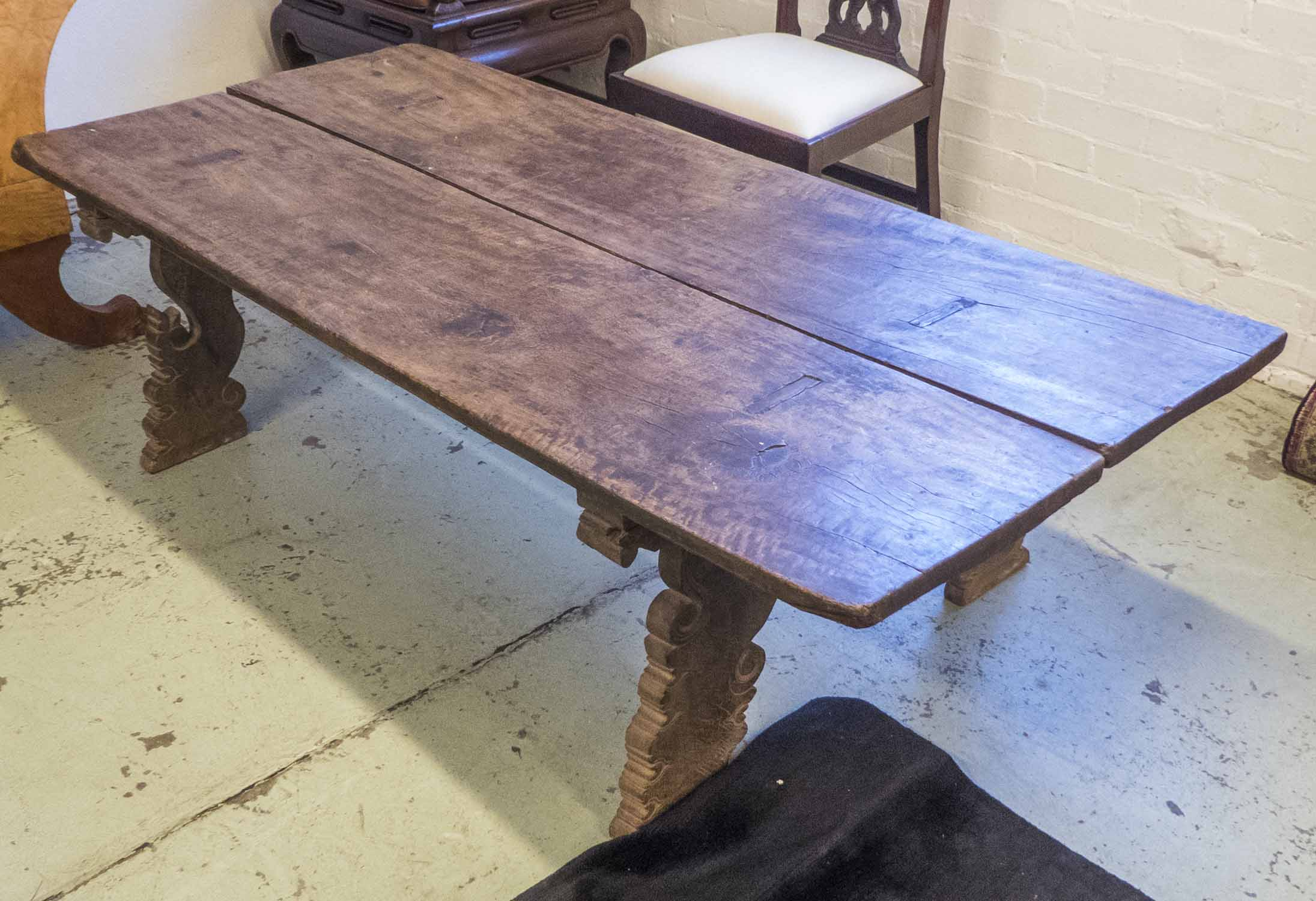 Lot 19 - LOW TABLE, vintage South-East Asian hardwood, with carved base, 177cm L x 80cm W x 36cm H.