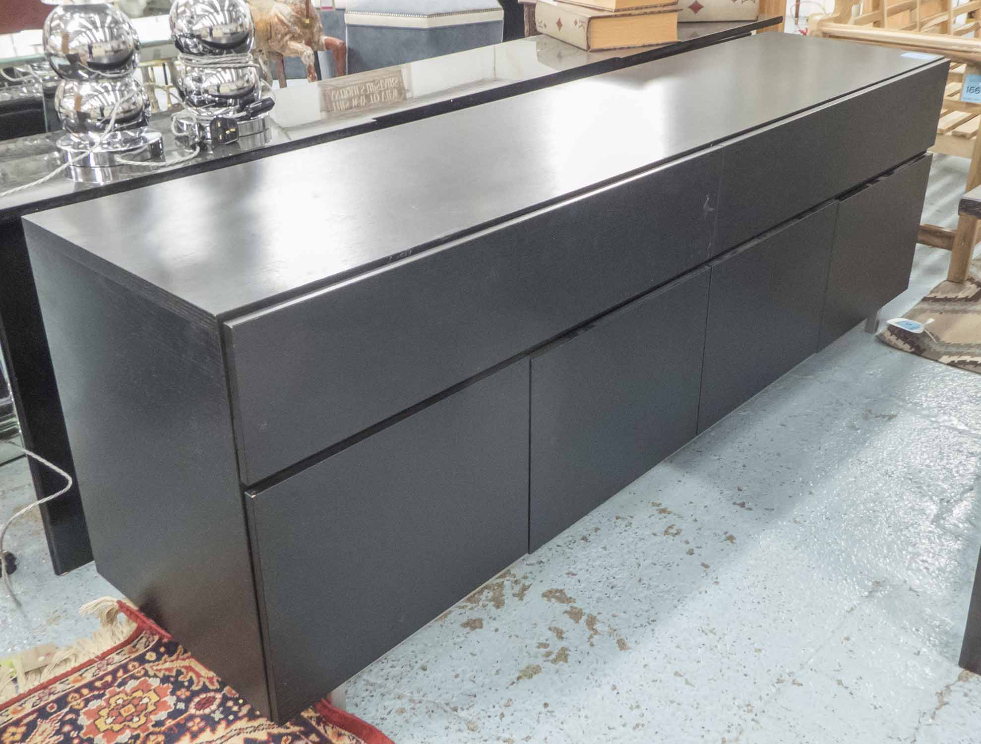 Lot 27 - BO CONCEPT SIDEBOARD 'MILANO', in black ash finish with two long drawers and cupboards below,