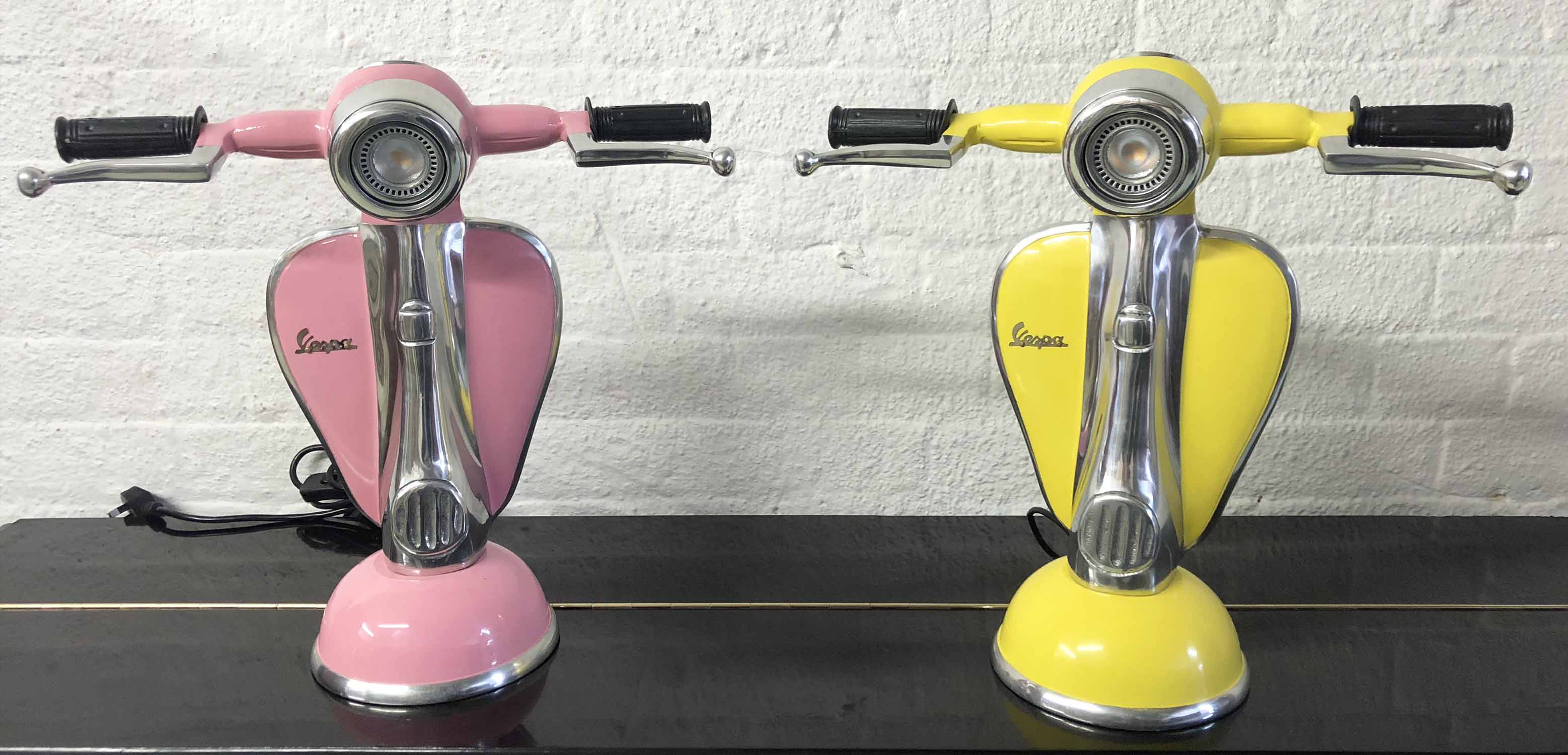 Lot 20 - VESPA SCOOTER TABLE LAMPS, two, cast aluminium yellow and pink designs, 41.5cm H.