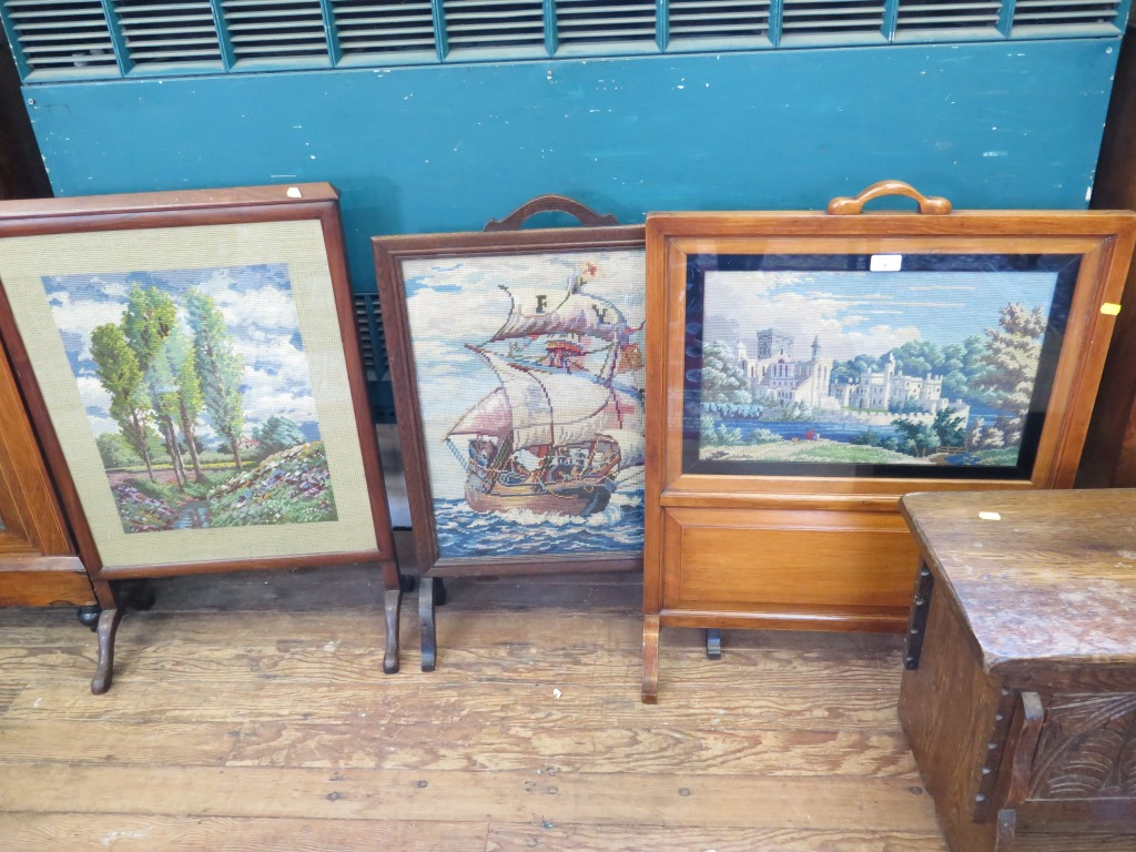 Lot 4 - Three tapestry fitted fire screens