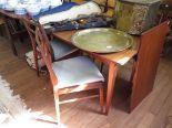 Lot 31 - A Fyne Ladye Afromosia extending dining table and four ladderback chairs, the table with one extra