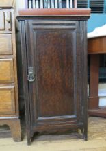 Lot 63 - An Edwardian mahogany and satinwood crossbanded bedside cupboard with bowed door, 34cm wide 63cm