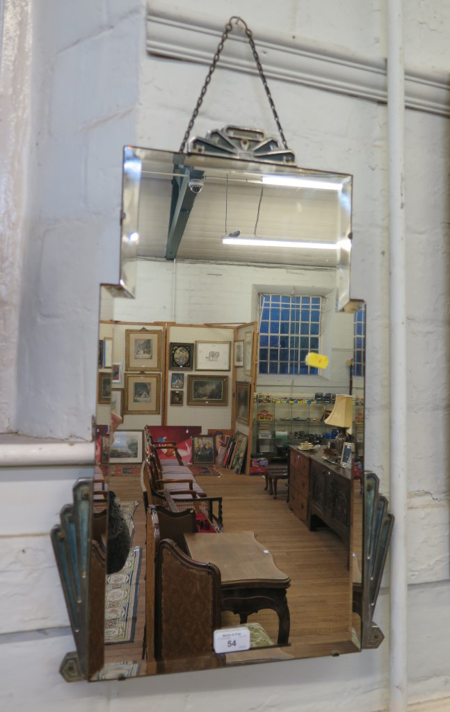 Lot 54 - An Art Deco frameless wall mirror with chromed mounts and bevelled plate, 60cm x 36cm