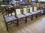 Lot 40 - A set of six George III style reproduction ladderback dining chairs, with moulded square legs,