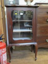 Lot 43 - An Edwardian mahogany cabinet, with shaped top and glazed door on cabriole legs 53cm wide