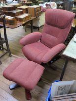 Lot 27 - A G-Plan swivel easy armchair and matching footstool