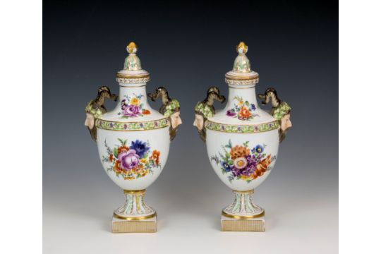 A Pair Of Covered Dresden Twin Handled Vases C1900 Of Urn Form