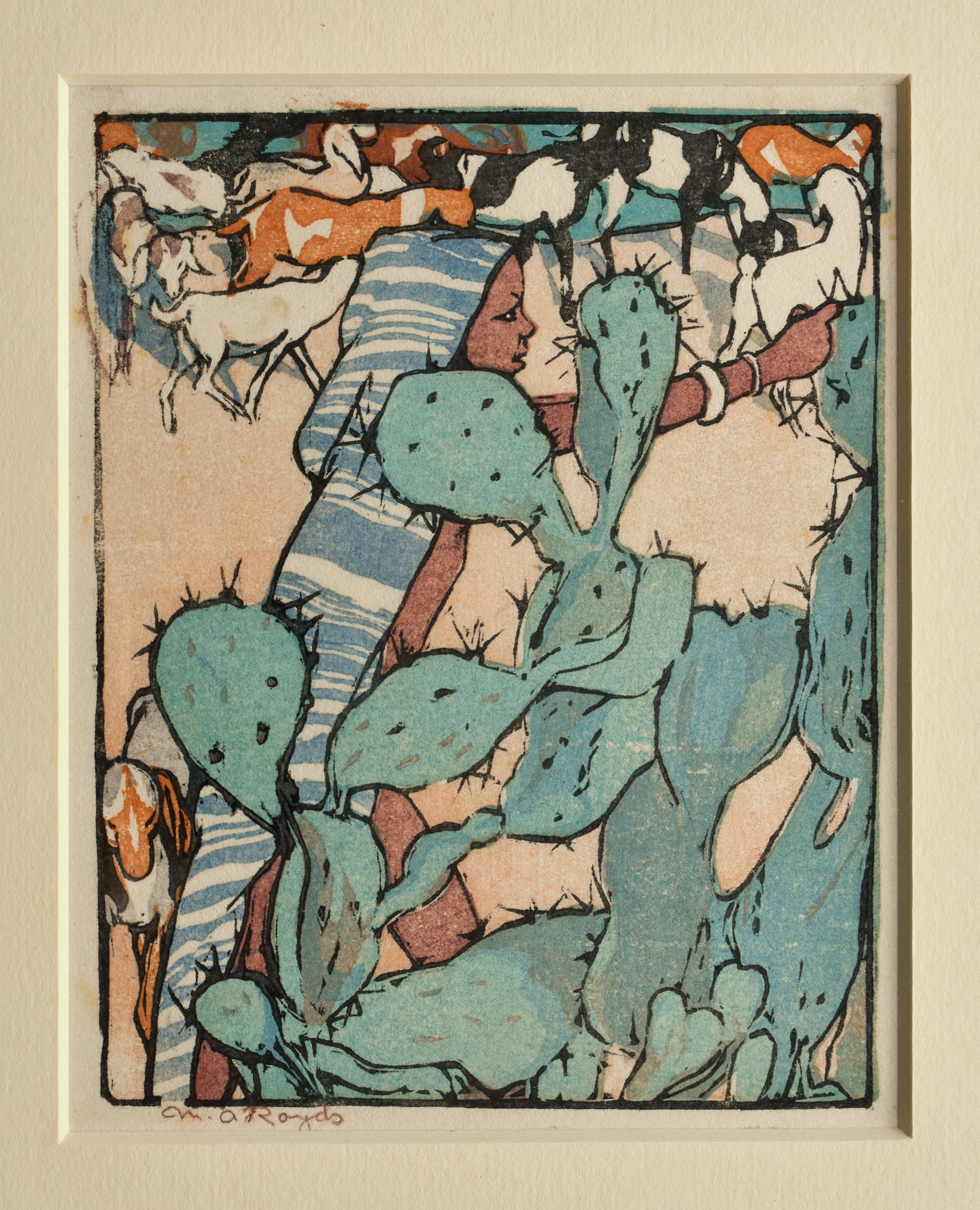 Mabel Alington Royds (British, 1874-1941), The Goatherd, woodcut printed in colours on wove paper, - Image 2 of 4
