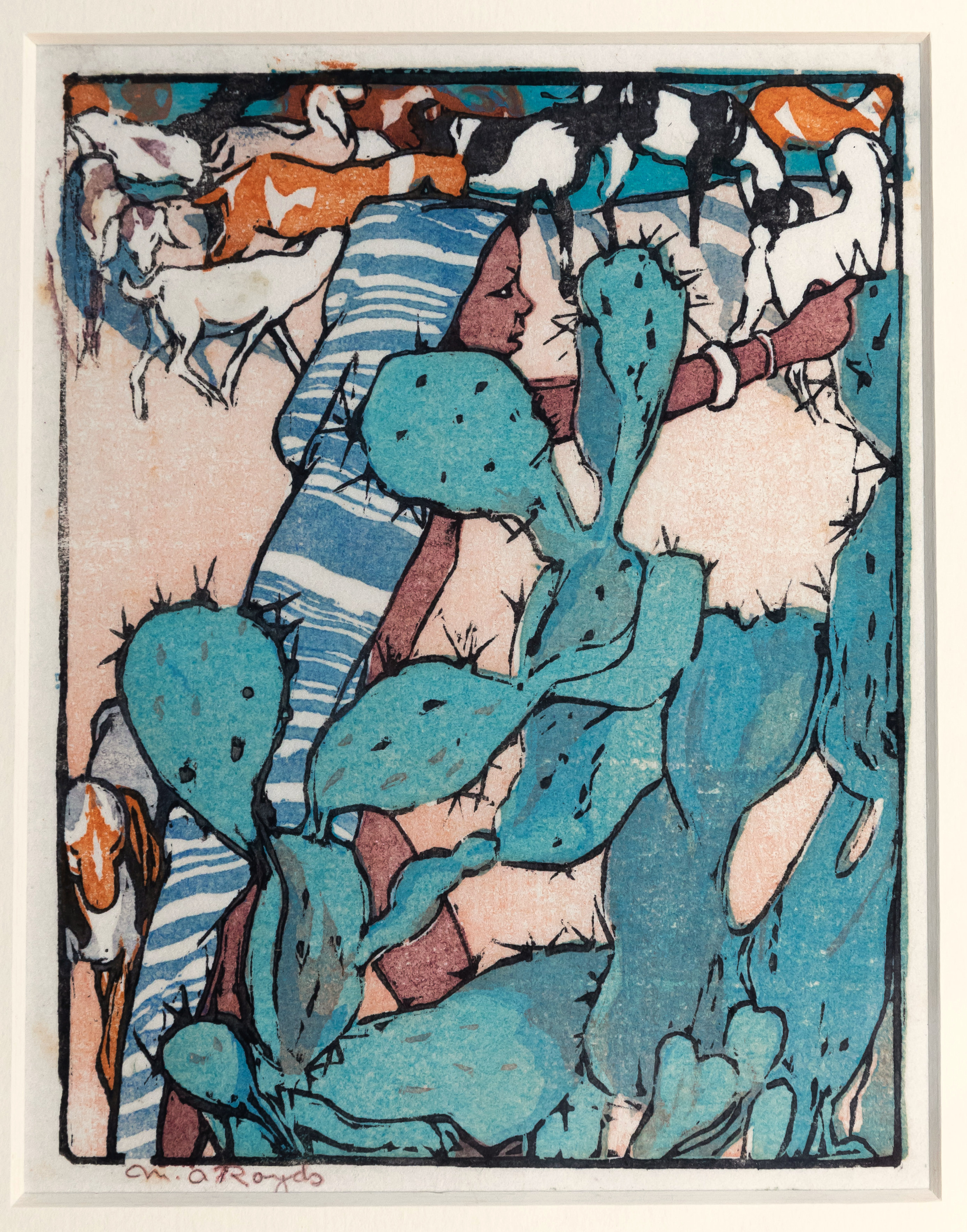 Mabel Alington Royds (British, 1874-1941), The Goatherd, woodcut printed in colours on wove paper,