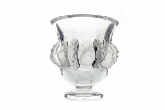 Lalique Frosted Clear Glass Vaseof Campana Form Moulded With Birds