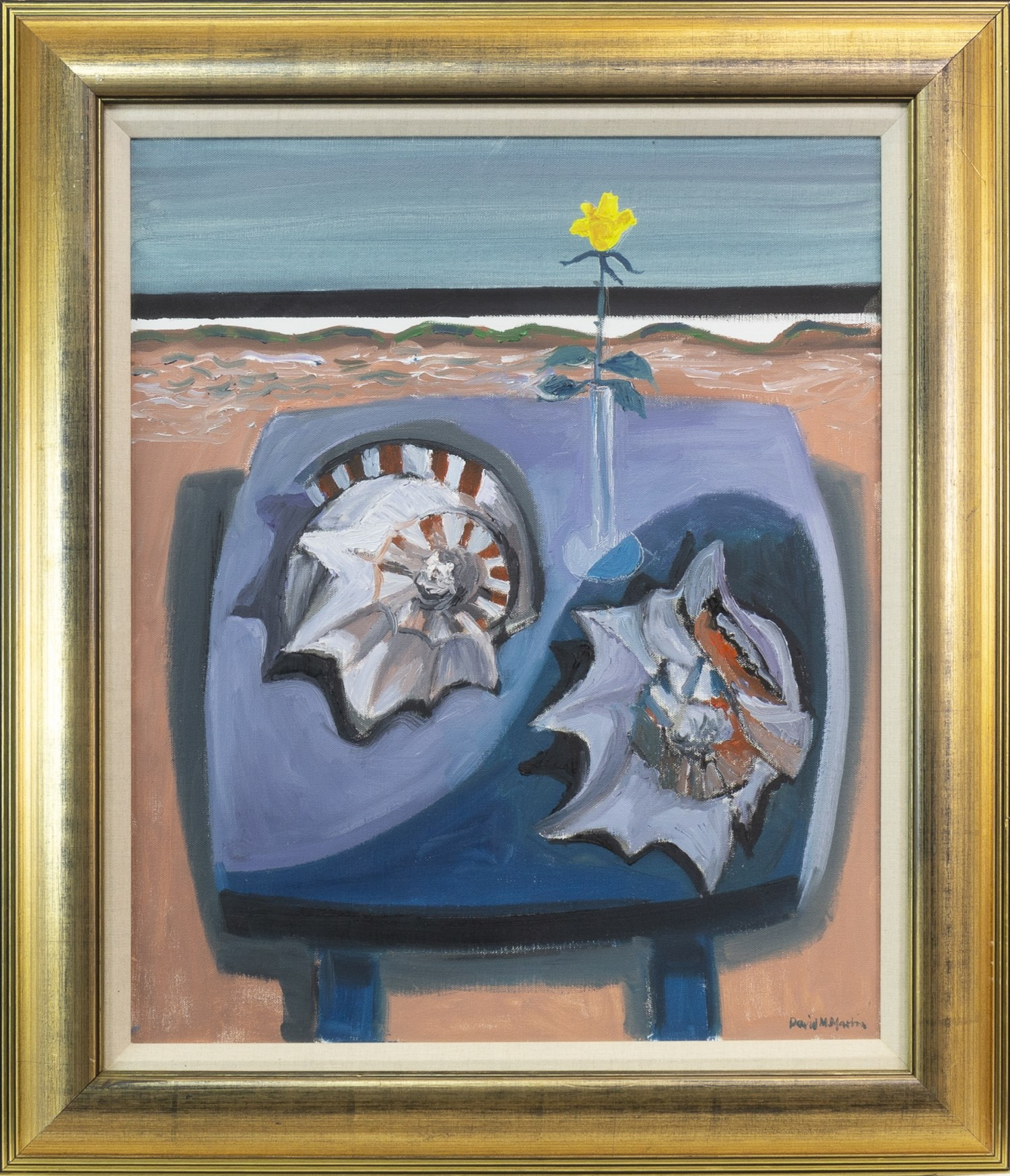 Lot 29 - BEACH TABLE WITH SHELLS, AN OIL ON CANVAS BY DAVID M MARTIN