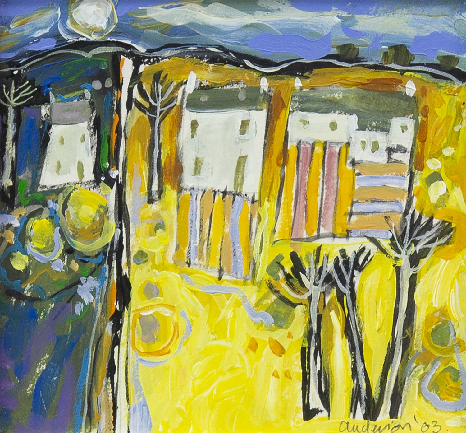 Lot 25 - YELLOW LANDSCAPE, AN ORIGINAL OIL BY CHARLES ANDERSON