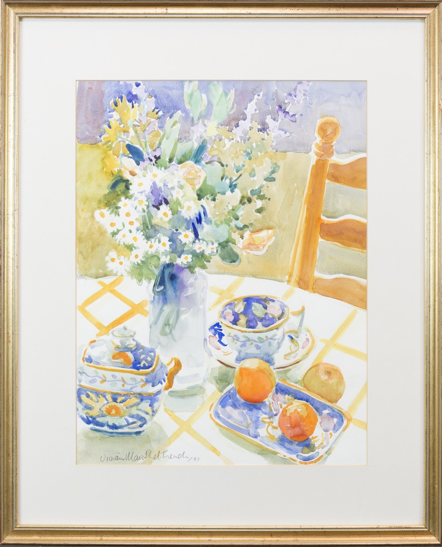 Lot 43 - STILL LIFE OF FLOWERS, FRUIT AND CROCKERY, BY VIVIAN MANTHEL-FRENCH