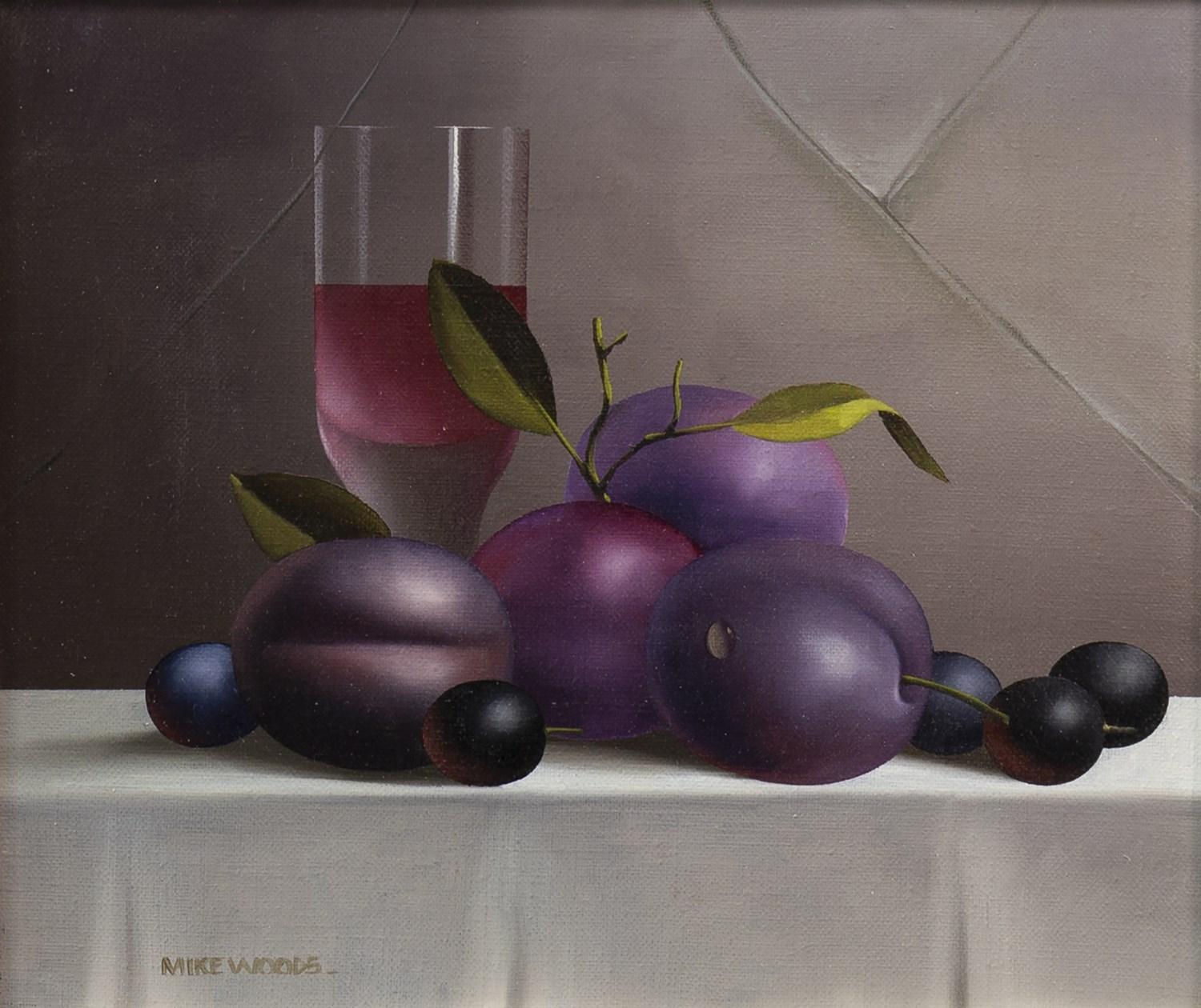 Lot 28 - STILL LIFE WITH PLUMS, GRAPES AND WINE, AN OIL ON CANVAS BY MIKE WOODS