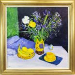 Lot 6 - STILL LIFE AND YELLOW CUP, AN OIL ON CANVAS BY NORMAN EDGAR
