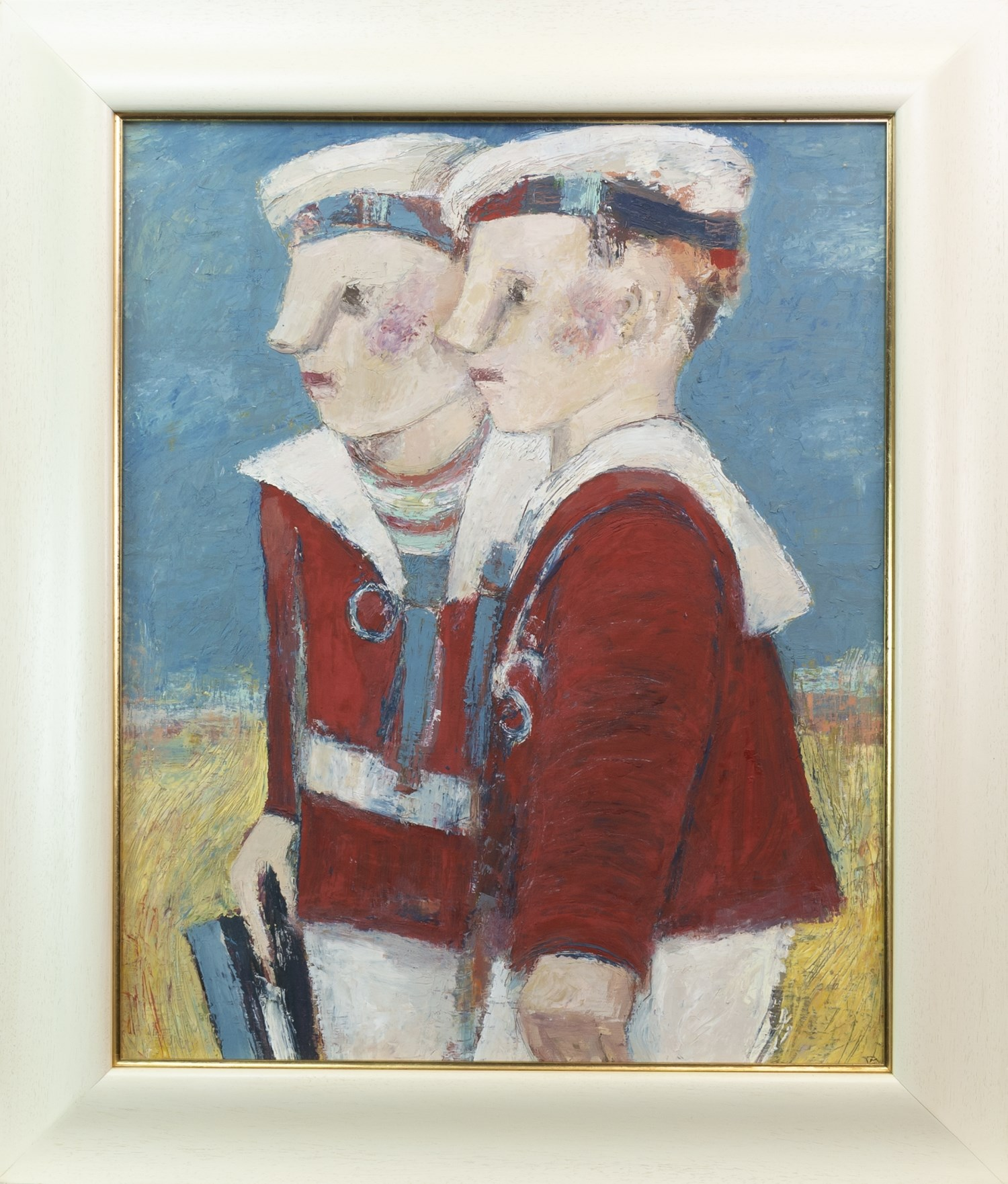 Lot 49 - THE YOUNG MARINERS, AN OIL ON CANVAS BY CATRIONA MILLER