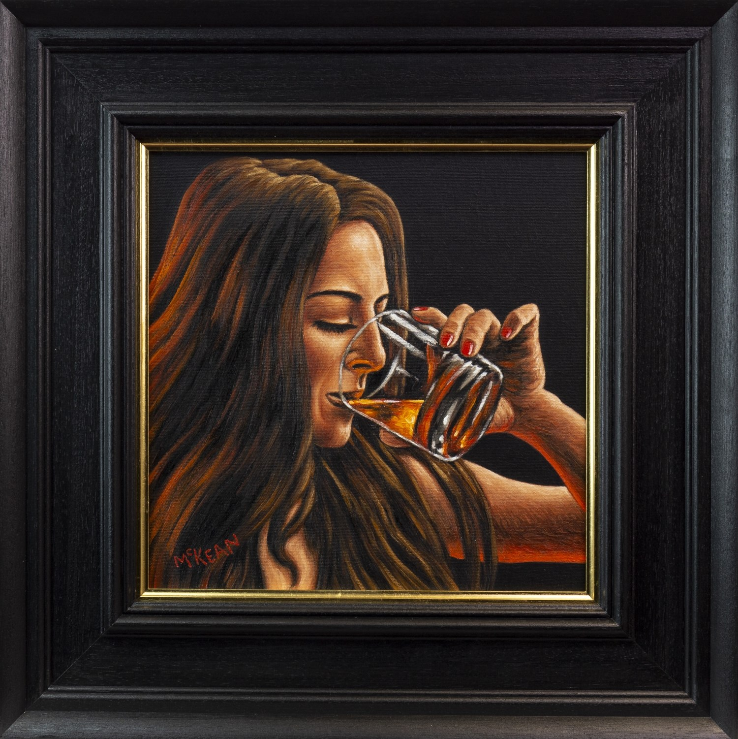 Lot 51 - THE GIRL WHO LOVED WHISKY, AN OIL ON CANVAS BY GRAHAM MCKEAN