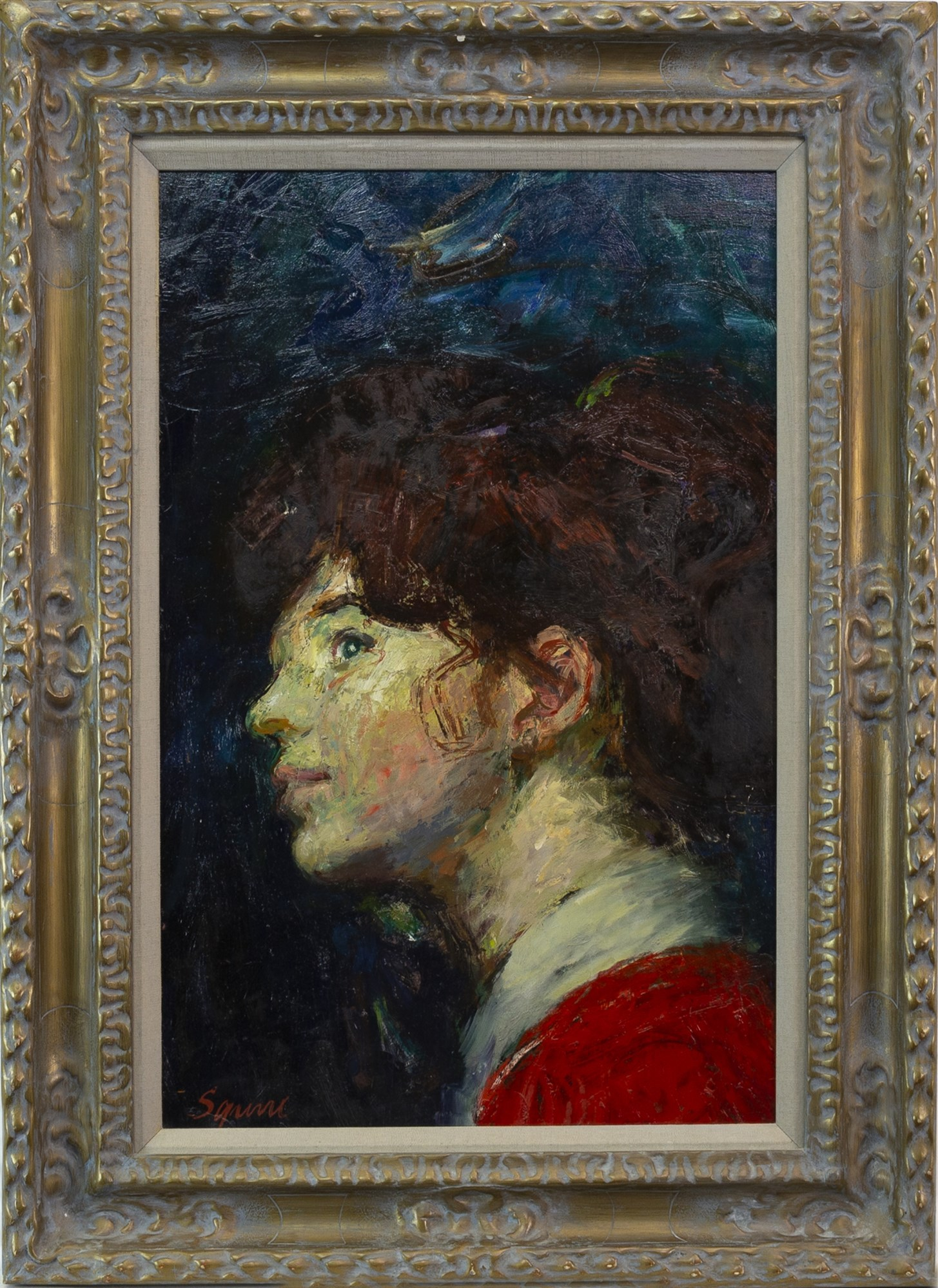 Lot 33 - THE PORTRAIT OF ELSA, AN OIL ON BOARD BY GEOFFREY SQUIRE