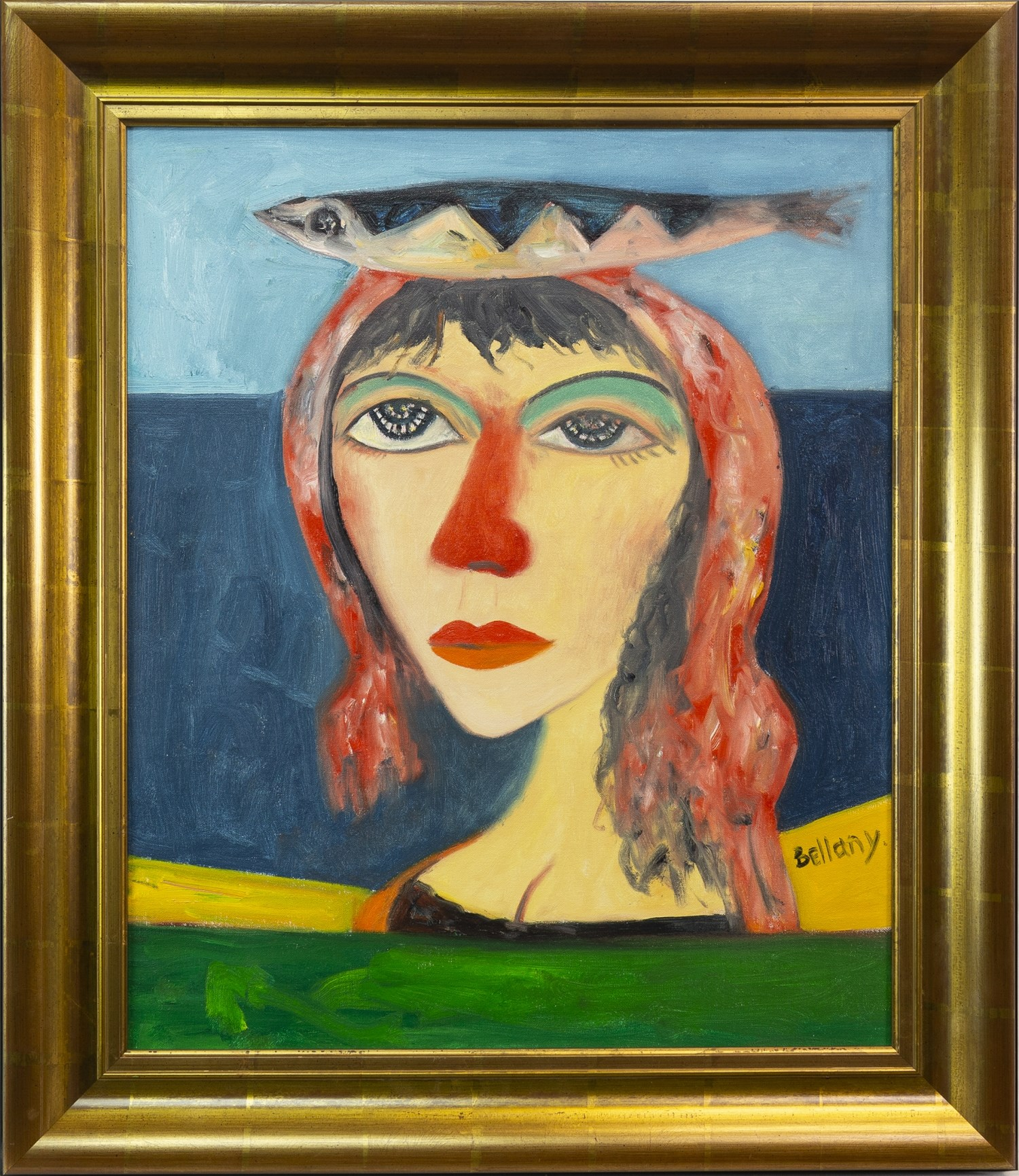 Lot 9 - NORTH SEA MAIDEN, AN OIL ON CANVAS BY JOHN BELLANY