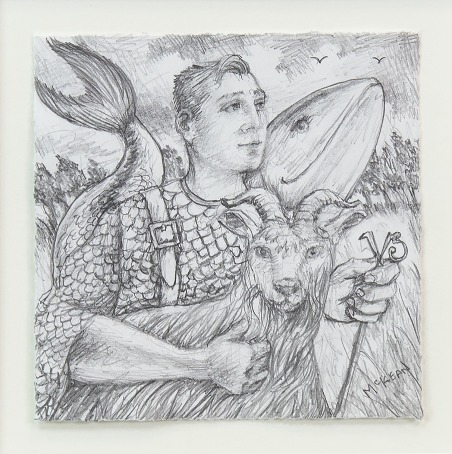 Lot 4 - PENCIL SKETCH OF MAN WITH GOAT AND WHALE, BY GRAHAM MCKEAN