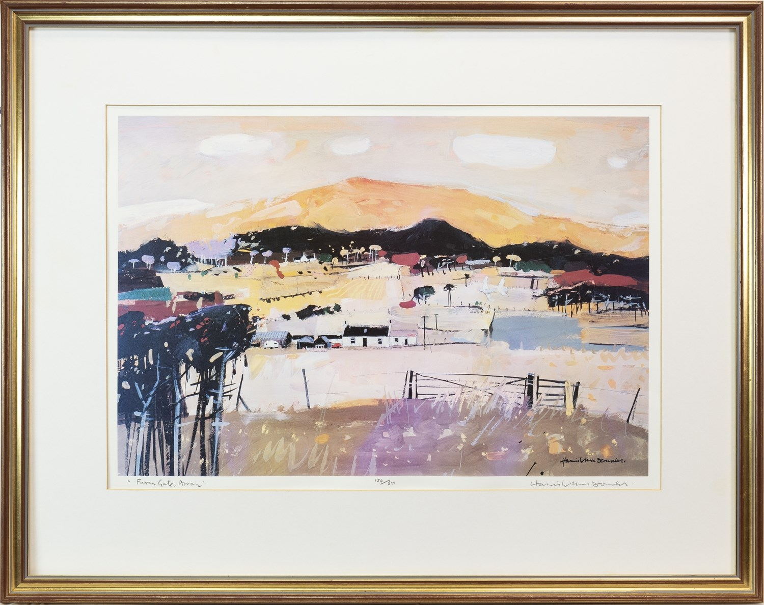 Lot 54 - FARM GATE, ARRAN, A LIMITED EDITION LITHOGRAPHIC PRINT BY HAMISH MACDONALD
