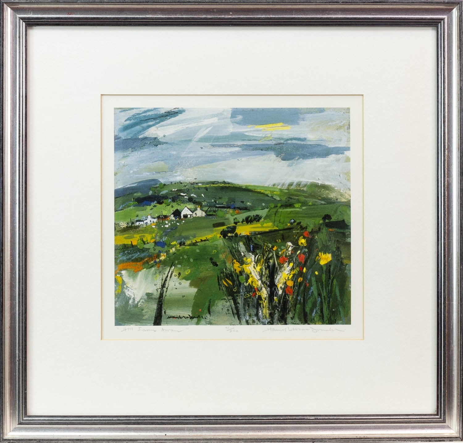 Lot 53 - HILL FARM, A LIMITED EDITION LITHOGRAPHIC PRINT BY HAMISH MACDONALD