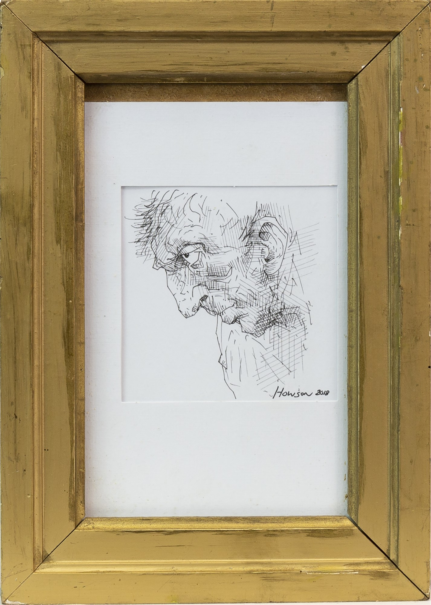 Lot 20 - PORTRAIT OF A MAN, AN INK SKETCH BY PETER HOWSON
