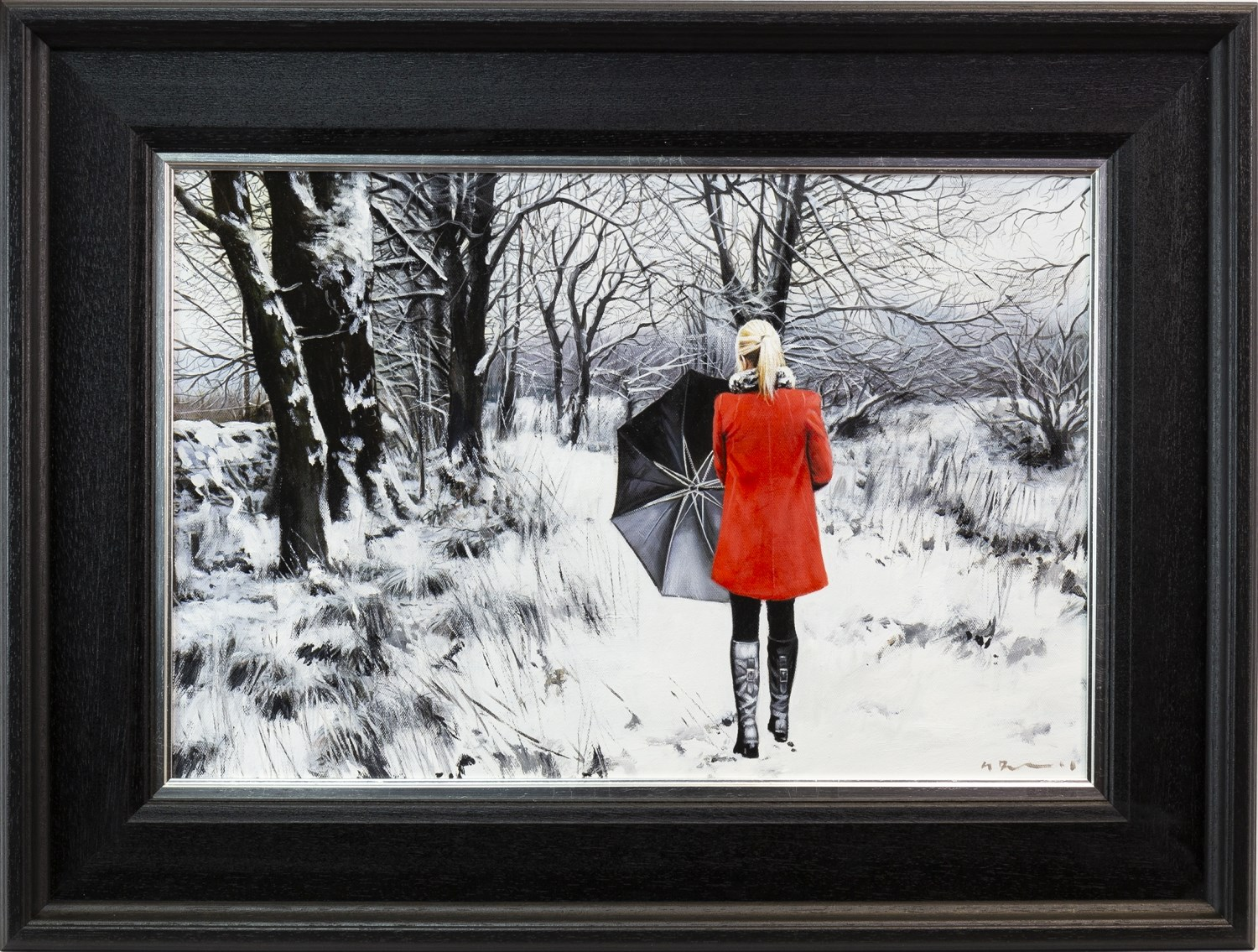 Lot 46 - THE WINTER PATH, AN OIL ON CANVAS BY GERARD BURNS